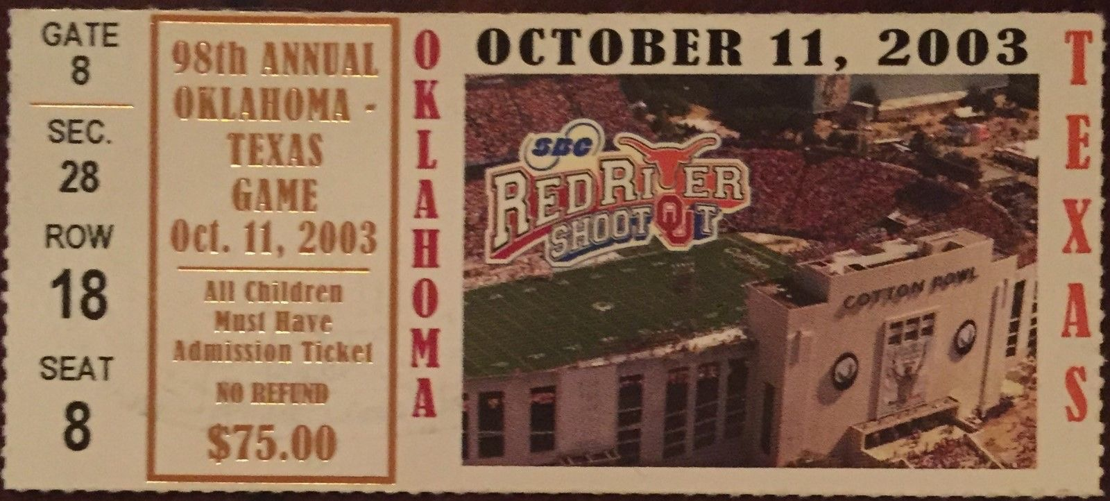 2003 NCAAF Oklahoma vs Texas ticket stub