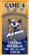 2007 NCAAF Central Michigan at Akron ticket stub