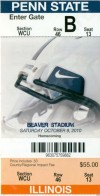 2010 NCAAF Illinois at Penn State ticket stub