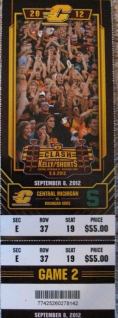 2012 NCAAF Central Michigan at Michigan State ticket stub