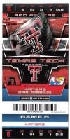 2012 NCAAF Kansas at Texas Tech ticket stub