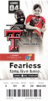 2014 NCAAF Kansas at Texas Tech ticket stub