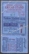 1926 World Series Game 7 Ticket Stub Cardinals at Yankees