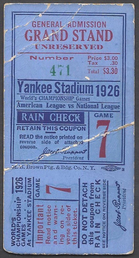 1926 World Series Game 7 Cardinals at Yankees Ticket Stub