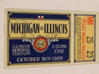 1929 NCAAF Michigan at Illinois Ticket Stub
