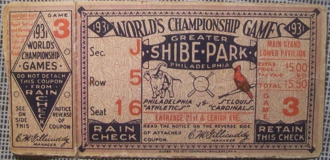 1931 World Series Game 3 Ticket Stub Cardinals vs Athletics