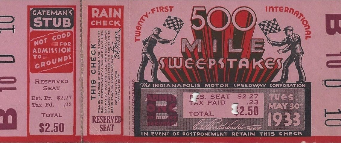 1933 Indianapolis 500 ticket stub