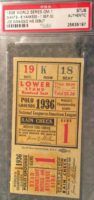 1936 World Series Game 1 Yankees at Giants ticket stub