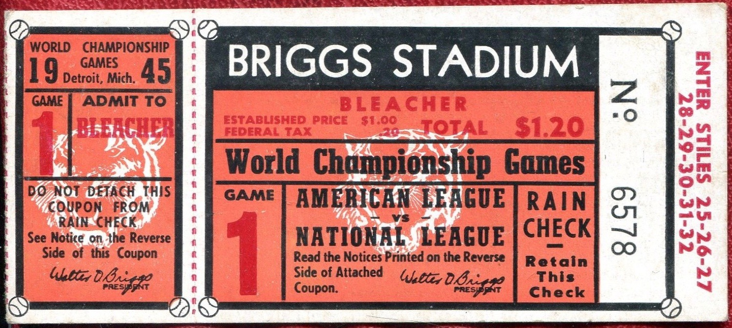 1945 World Series Game 1 Ticket Stub Cubs at Tigers