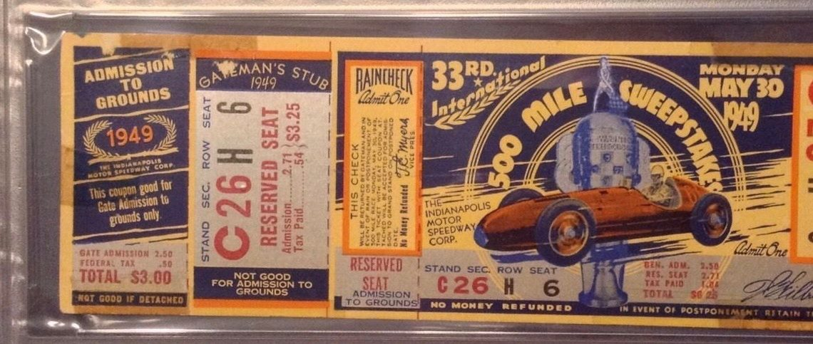 1949 Indianapolis 500 ticket stub