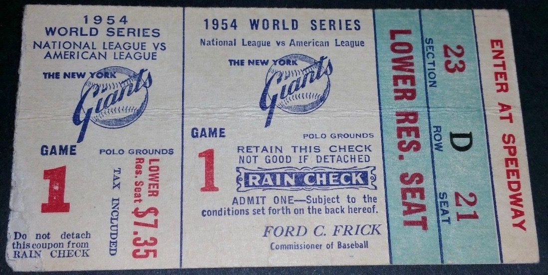 1954 World Series Game 1 Indians at Giants Willie Mays Catch Ticket Stub