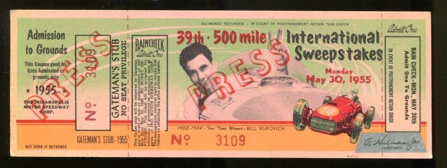 1955 Indianapolis 500 Press Ticket