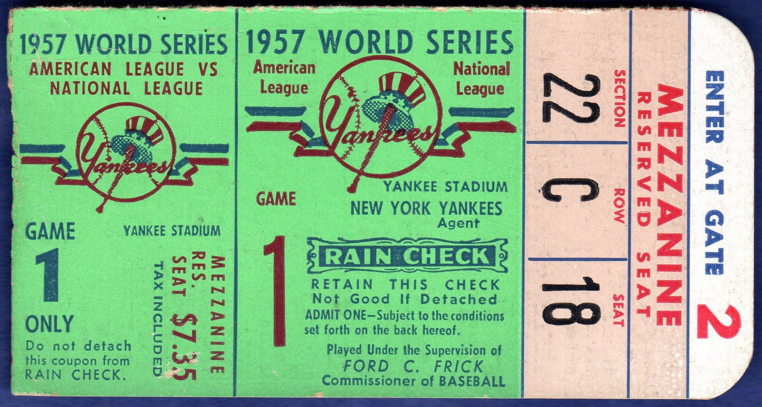 1957 World Series Game 1 ticket stub Braves at Yankees