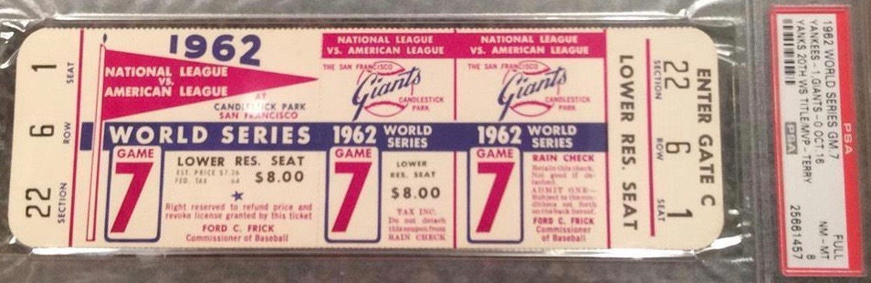 1962 World Series Game 7 unused ticket Yankees at Giants