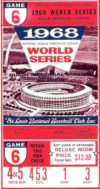 1968 World Series Game 6 Tigers at Cardinals Ticket Stub