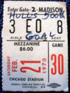 1970 NHL Rangers at Blackhawks Bobby Hull 500th goal ticket stub