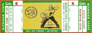 1975 NCAAF Michigan State at Purdue ticket stub