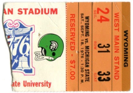 1976 NCAAF Wyoming at Michigan State ticket stub