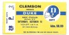1977 NCAAF Clemson at Duke ticket stub
