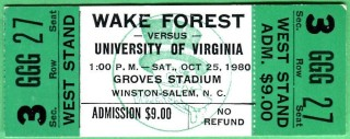 1980 NCAAF Virginia at Wake Forest ticket stub