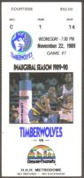 1989 NBA Nuggets at Timberwolves ticket stub