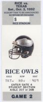 1992 NCAAF Texas at Rice ticket stub