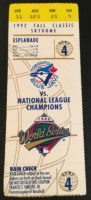 1992 World Series Game 4 Braves at Blue Jays ticket stub