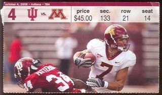 2008 NCAAF Indiana at Minnesota ticket stub