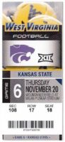 2014 NCAAF Kansas State at West Virginia ticket stub