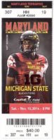 2014 NCAAF Michigan State at Maryland ticket stub