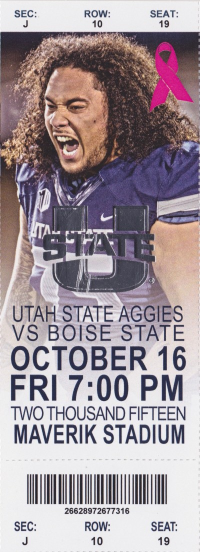 2015 NCAAF Boise State at Utah State ticket stub