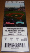 2016 MLB Brewers at Phillies ticket stub