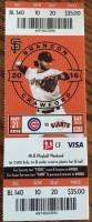 2016 MLB Cubs at Giants ticket stub