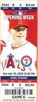 2016 MLB Rangers at Angels ticket stub
