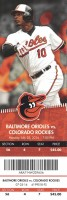 2016 MLB Rockies at Orioles ticket stub