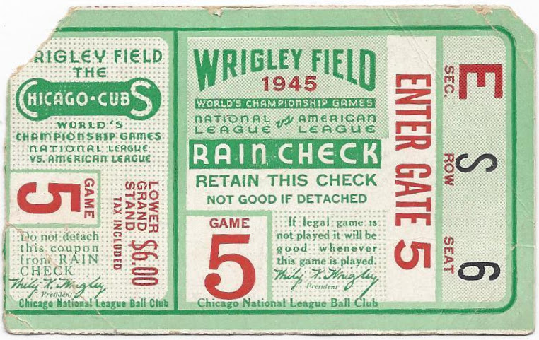 1945 World Series Game 5 Tigers at Cubs ticket stub