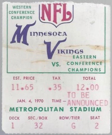 1970 NFC Championship Browns at Vikings ticket stub