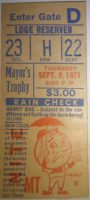 1971 MLB Mayor's Trophy game Yankees at Mets ticket stub
