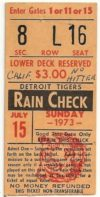 1973 MLB Angels at Tigers Nolan Ryan No Hitter ticket stub