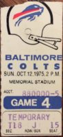 1975 NFL Buffalo Bills at Baltimore Colts ticket stub