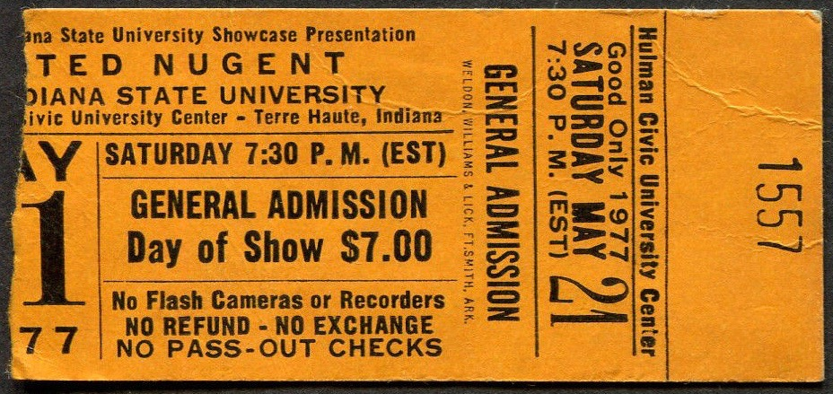 1977 Ted Nugent Indiana State University ticket stub
