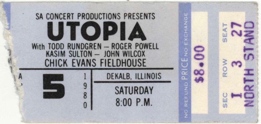 1980 Utopia Northern Illinois University ticket stub