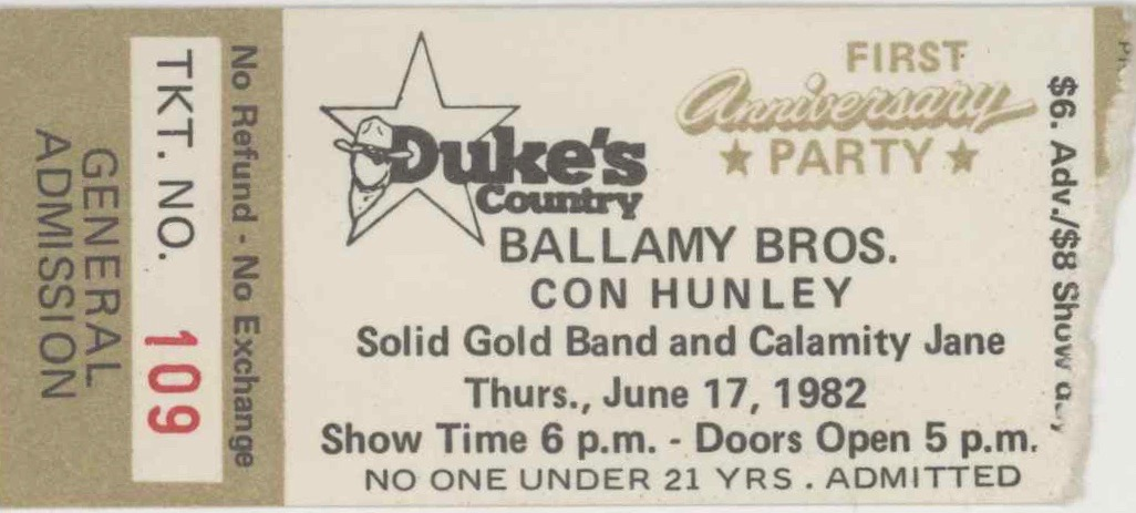 1982 Ballamy Brothers Tulsa ticket stub