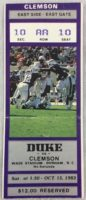 1983 NCAAF Clemson at Duke ticket stub