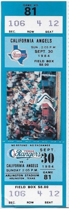 1984 Mike Witt Perfect Game ticket stub
