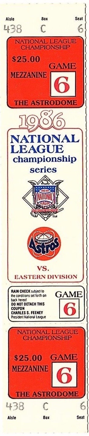 1986 NLCS Game 6 Mets at Astros ticket stub