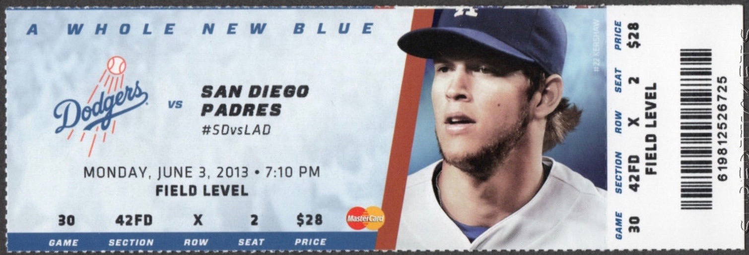 2013 MLB Padres at Dodgers Puig debut ticket stub