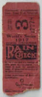 1917 World Series Game 3 White Sox at Giants ticket stub