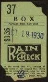 1930 Portland Beavers ticket stub