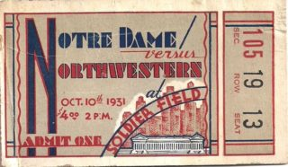 1931 NCAAF Notre Dame vs Northwestern ticket stub